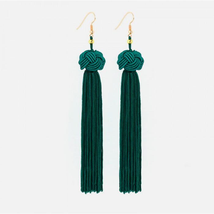 Emerald tassel earrings