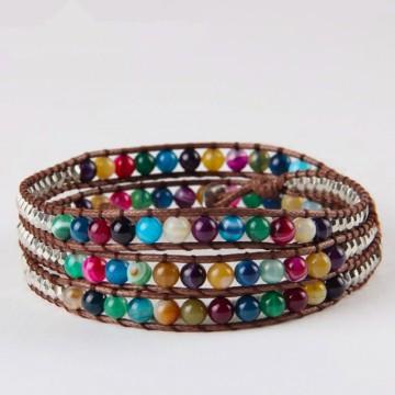 Multicolored agate wrap bracelet