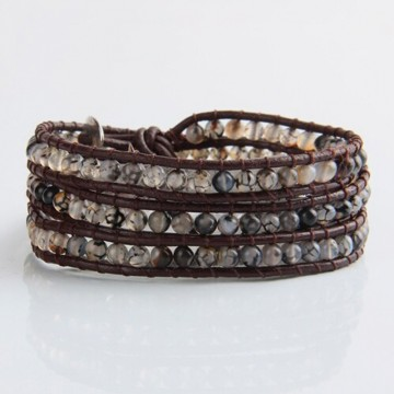 Translucent agate wrap bracelet