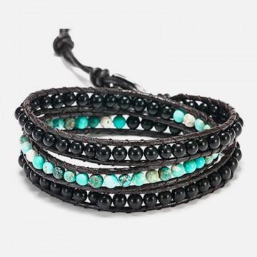 Imperial jasper and obsidian bracelet