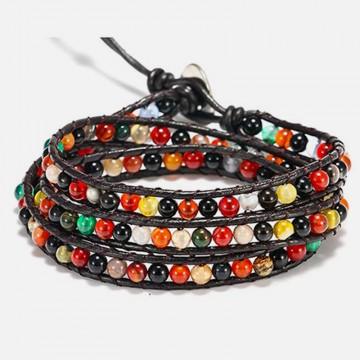 Autumn agate wrap bracelet