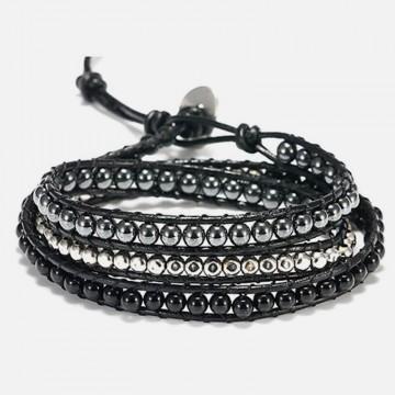 Hematite obsidian wrap bracelet