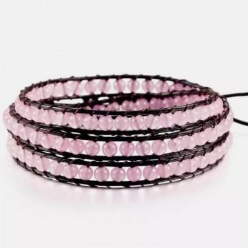 Rose quartz wrap bracelet