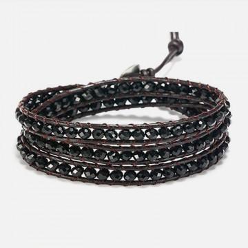 Obsidian wrap bracelet