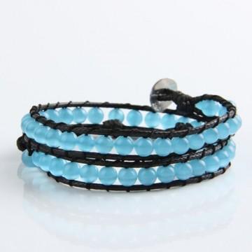 Blue cat's eye wrap bracelet