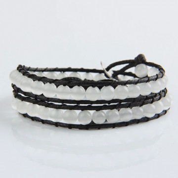 White cat's eye wrap bracelet
