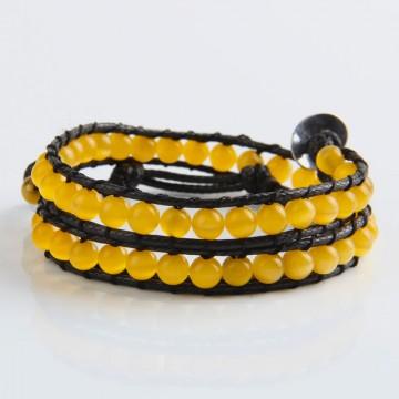 Ocher cat's eye wrap bracelet