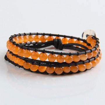 Orange cat's eye wrap bracelet