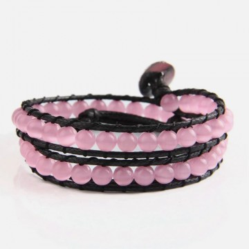 Pink cat's eye wrap bracelet