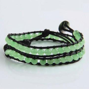 Green cat's eye wrap bracelet