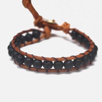 Lava stone wrap bracelet