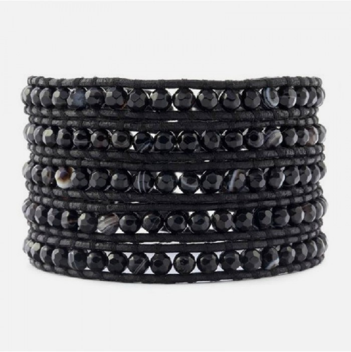 Black agate wrap bracelet