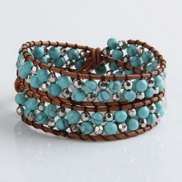 Turquoise silver wrap bracelet