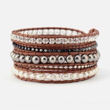Multi pearl wrap bracelet