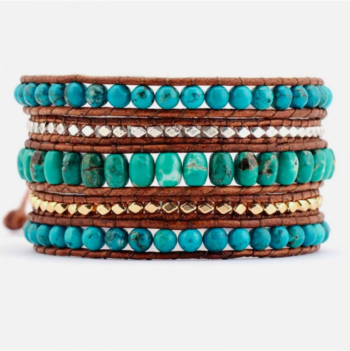 Gold and silver turquoise wrap bracelet