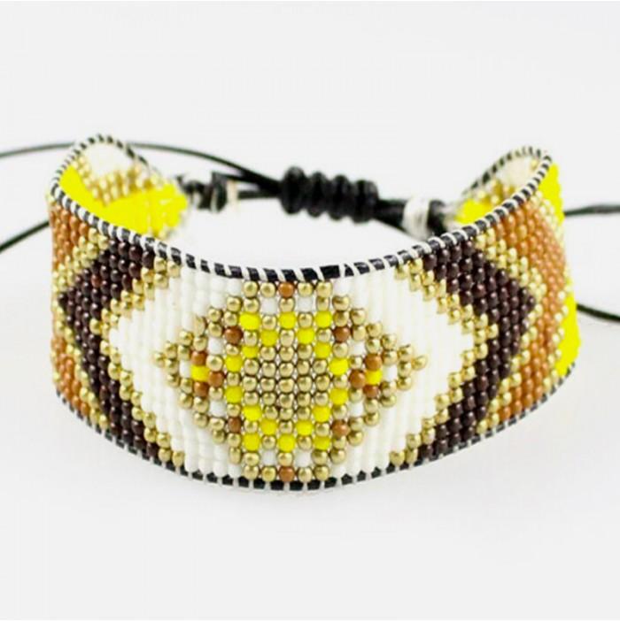 Yellow gold miyuki bracelet