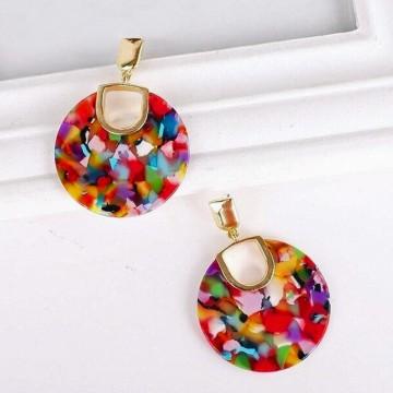 Multicolored disc earrings