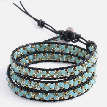 3 strand pink wrap bracelet