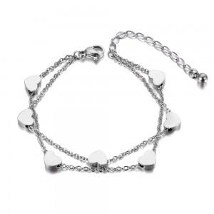 Bracelet double chaîne coeurs
