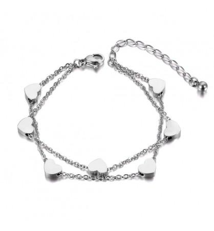 Double chain heart bracelet