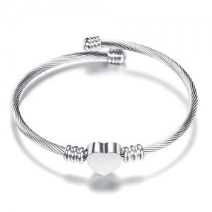 Braided steel heart bracelet