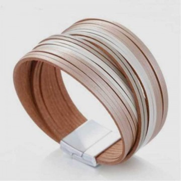 Nude leather cuff pink and gold