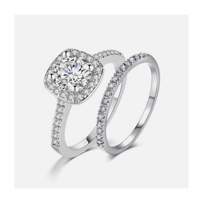 Silver plated zircon ring