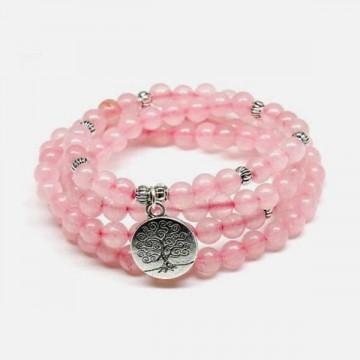 Tibet Mala rose quartz necklace