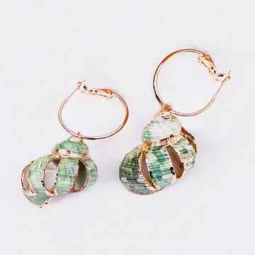 Green ocean earrings