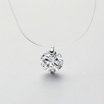 Nylon thread and rhinestone necklace