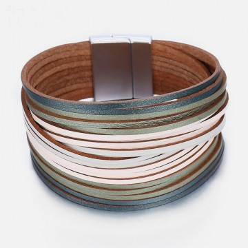Olive leather cuff
