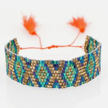 Miyuki bracelet green gold