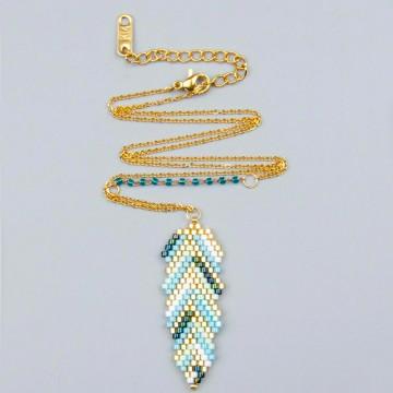 Miyuki leaf necklace