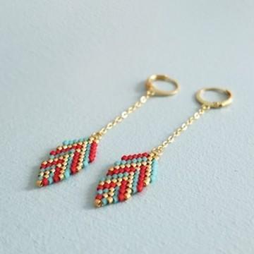 Miyuki leaf earrings