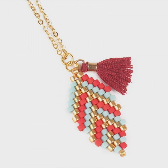 Red leaf miyuki necklace