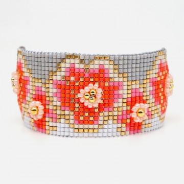 Red gray miyuki bracelet