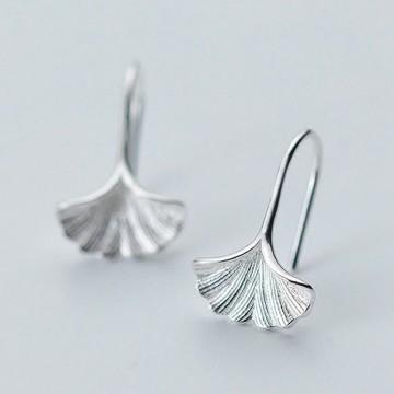 Silver Ginkgo earrings