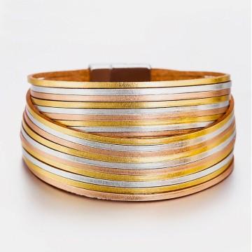 3 gold leather cuff