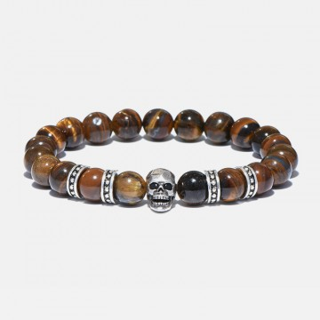 Tiger eye bracelet skull